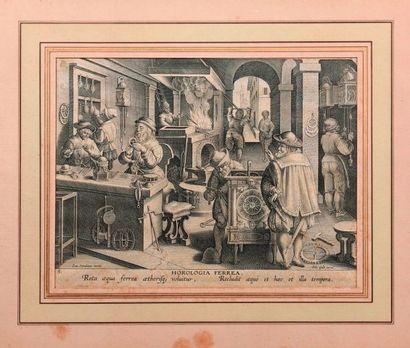 L'atelier d'un horloger vers 1600. Burin...