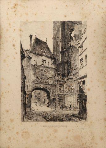 La Grosse Horloge de Rouen vue côté de la...