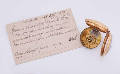 Montre à verge en or gravée, signée (mouvement),...