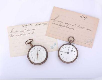 Deux montres à verge en argent, non signées,...