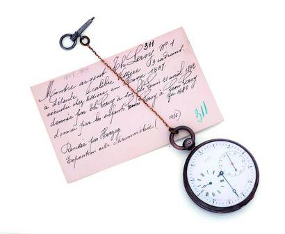 Montre à détente en argent signée (cadran),...