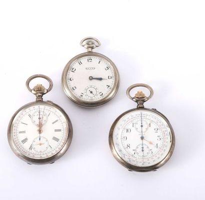 Deux montres tachygraphes en argent, dont...
