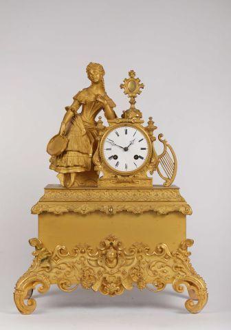 Pendule de cheminée en métal doré, 'la danseuse',...