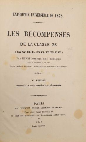 1878 - ROBERT, Henri (fils). Exposition Universelle de 1878. Les récompenses de...