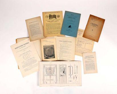 [HORLOGERIE DE PRECISION]. Sept plaquettes et une gravure concernant les chronomètres,...
