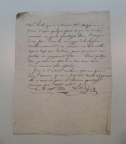 Note du 18 septembre 1820 concernant l'huile...
