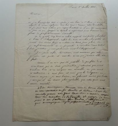 Lettre de Breguet en partie autographe à...