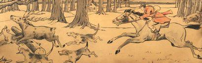 STEPH,  «L'hallalie du cerf»,  lithographie...