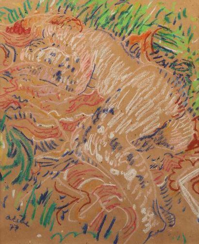 Jean ARENE (1929-)  Paysage esquissé, Composition...