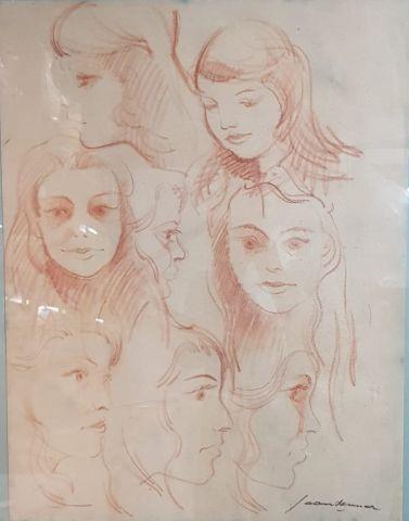 Jean BRENNER (1937-2009)  Etude de visages...