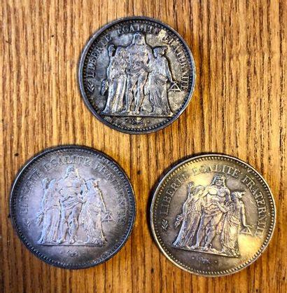 Lot de 2 pièces de 50 F. Hercule  et 1 pièce...