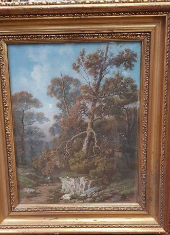 E. DELAMARE (?)  Forêt de Barbizon (?), promeneur...