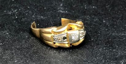 DEBRIS D'OR :  Monture de bague en or jaune...
