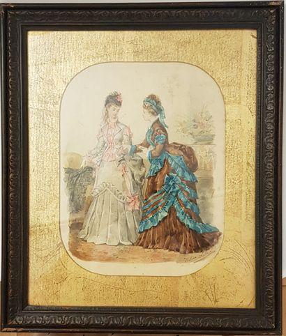 Héloïse LELOIR (1819-1875)  Deux élégantes...