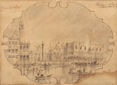 Ecole du XXème siècle  Vues de Venise  Deux...