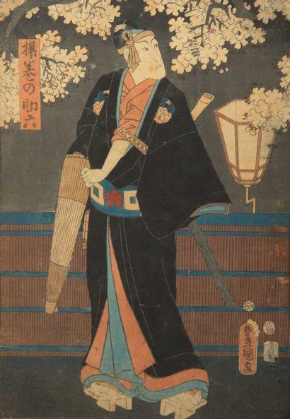 TOYOKUNI III (1786-1865) : deux estampes...