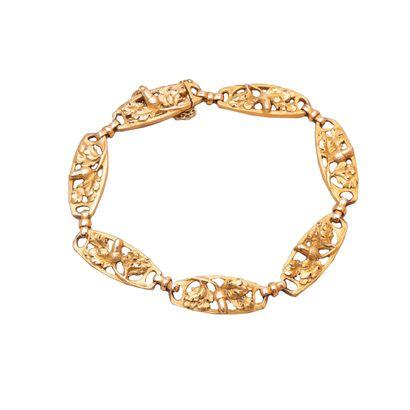 Bracelet en or deux tons 750°/00 à maillons...