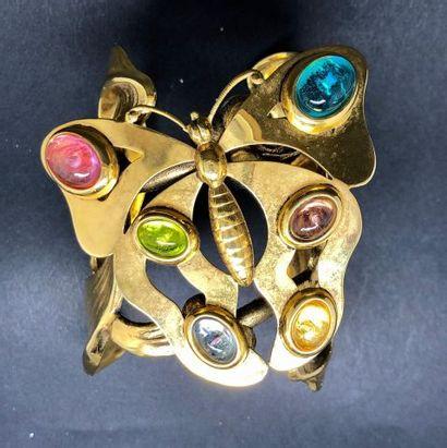 Bracelet manchette en métal doré rigide à...