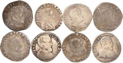 Lot : 8 teston de Henri II et Charles IX...