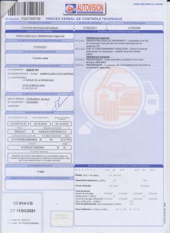 CTTE FOURGON RENAULT Modéle : KANGOO ZE CZ-014-VG Type constructeur : FW0ZBC N°de...