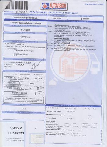 CTTE FOURGON RENAULT Modéle : TRAFIC DZ-152-HC Type constructeur : 2FL114 N°de Série...