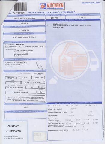 CTTE FOURGON RENAULT Modéle : KANGOO ZE CZ-550-VG Type constructeur : FW0ZBC N°de...