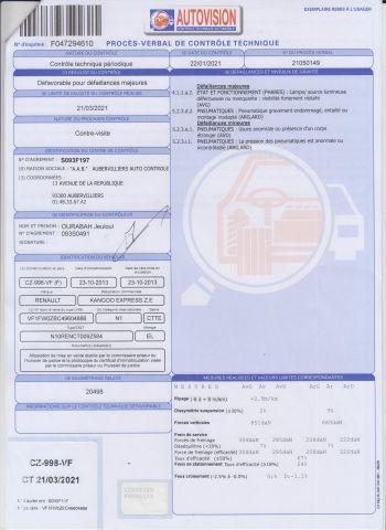 CTTE FOURGON RENAULT Modéle : KANGOO ZE CZ-998-VF Type constructeur : FW0ZBC N°de...