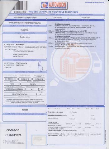 VP CI FORD Modéle : FIESTA CP-886-CC Type constructeur : JA8UGJC1D5DEABX N°de Série...