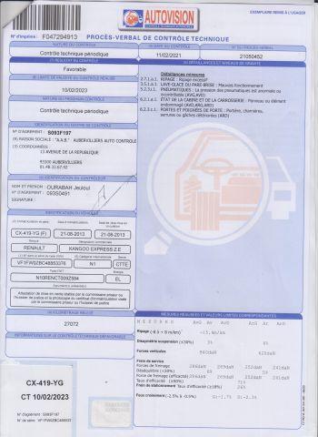 CTTE FOURGON RENAULT Modéle : KANGOO ZE CX-419-YG Type constructeur : FW0ZBC N°de...