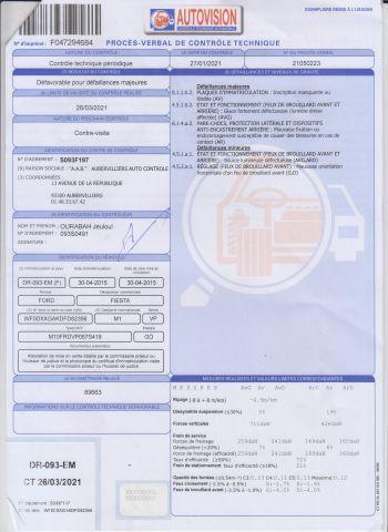 VP CI FORD Modéle : FIESTA DR-093-EM Type constructeur : JA8UGJC1D5DEABX N°de Série...