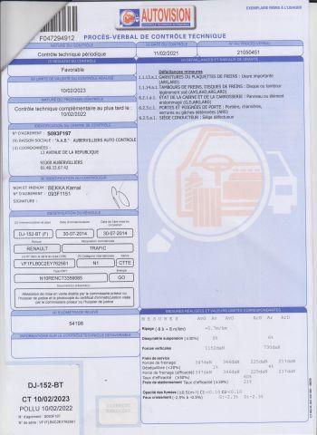 CTTE FOURGON RENAULT Modéle : TRAFIC DJ-152-BT Type constructeur : FLB0C2 N°de Série...