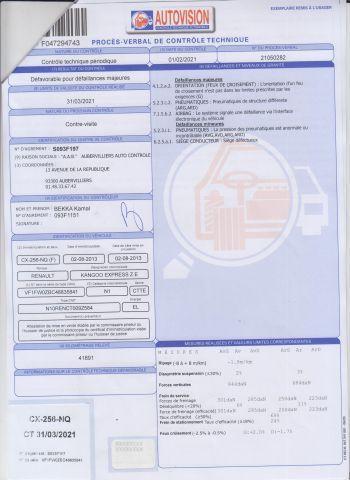 CTTE FOURGON RENAULT Modéle : KANGOO ZE CX-256-NQ Type constructeur : FW0ZBC N°de...