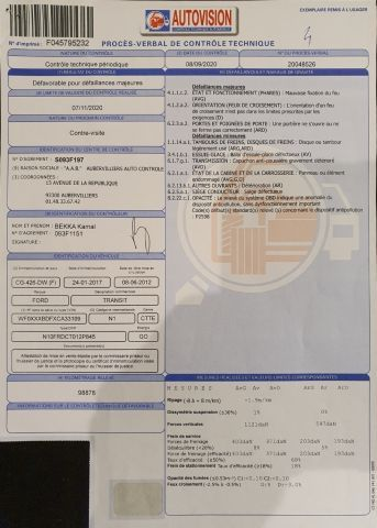 CTTE FOURGON FORD Modéle : TRANSIT CG-426-DW Type constructeur : FAE6DRFB1AB3ESDF...
