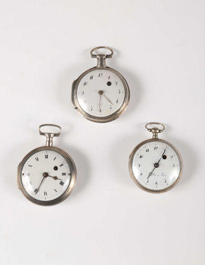 Trois montres à verge en argent, début du...