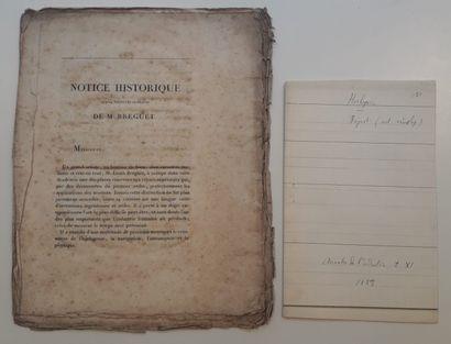 DEUX NOTICES nécrologiques de Breguet dont...