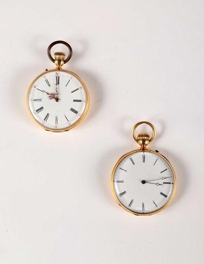 Deux montres à cylindre en or (pb. 139gr),...