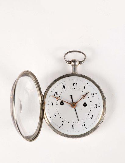 Grande montre à réveil en argent avec mouvement...