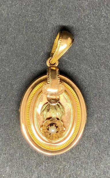 Pendentif «Souvenir» ovale en or jaune...