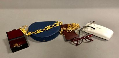 Lot de 2 ceintures fantaisie en métal doré,...