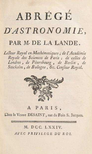 LALANDE, Jérôme de. Abrégé de l'astronomie,...