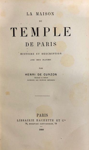 DE CURZON, Henri. La maison du Temple de Paris, histoire et description, Paris 1888....