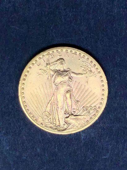 ETATS-UNIS  1 pièce de 20 dollars US or, 1922
