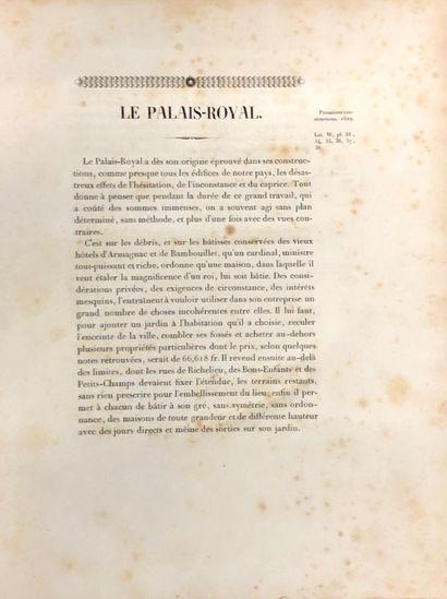 P. L. FONTAINE  Histoire du Palais-Royal,...