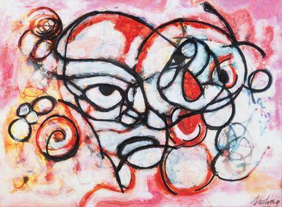 Pal SARKOZY (1929-)  Composition aux visages...