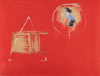 Cathy JOSEFOWITZ  (1956-2014)  Chaise rouge, chorégraphie.  Gouache sur carton....