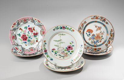 CHINE, Compagnie des Indes, XVIIIe siècle  Trois Paires d'assiettes en porcelaine...