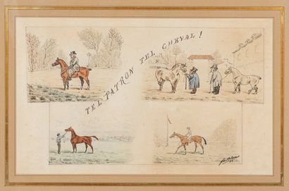 F. de BLANIS (XIX-XXe siècles)  « Tel patron, tel cheval », 93  Plume, encre et...
