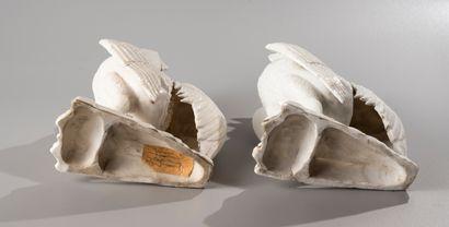 CHINE, XVIII-XIXe siècle  Paire de statuettes en porcelaine Blanc de Chine,  représentant...
