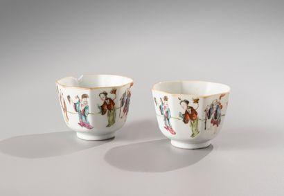 CHINE, marque et époque Tongzhi  Paire de sorbets octogonaux en porcelaine et émaux...
