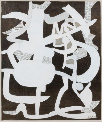 Maurice ESTEVE (1904-2001)  Composition, 1973  Collage de papiers peints et découpés...